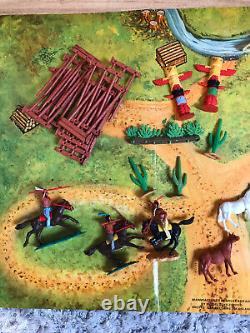 Timpo Toy Vintage Us Wild West Red Indian Village Boxed Almost Complete Set Rare