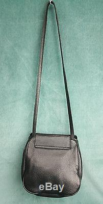 VICENZA INC 1993 Black Leather Gold Tone Equestrian Horse Handbag Rare Vintage