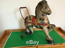 VINTAGE 1940s MOBO PRESSED STEEL PUSH HORSE TOY MADE IN ENGLAND RARE