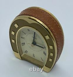VINTAGE GUCCI LEATHER/BRASS HORSE SHOE ALARM CLOCK ULTRA RARE MINTY WithPOUCH
