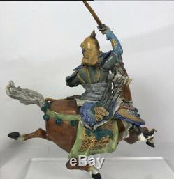 VINTAGE RARE LARGE CHINESE ROOF TILE WARRIOR ON HORSE WithLUCITE STAND 16x7x17