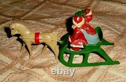 VTG LEAD RARE BARCLAY SANTA WITH HOLLY SPRIG SEATED ON SLEIGH WithPALOMINO HORSE