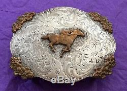 VTG Rare 1960s Sterling Silver Western HORSE & RIDER Rodeo USA Brand BELT BUCKLE