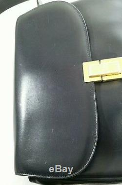 Verified Vintage Celine Box Horse Carriage Navy Leather Shoulder Hand Bag Rare