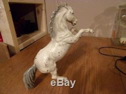 Very RARE Vintage HUBLEY Doorstop Large Rearing Horse Gray White
