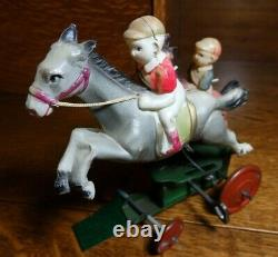 Very Rare 1930's Vintage Pre-war Japan Two Horses Racing Celluloid windup toy