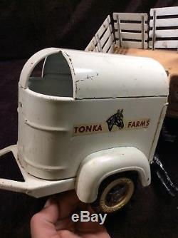 Vintage 1950's TONKA Farms Toy Stake Truck Set with Trailer & Rare Horse No. 35