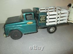 Vintage 1950's Tonka Farms Stake Side Truck and Trailer Rough Horses 21 Rare