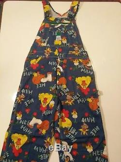 Vintage 1970's Liberty Hee Haw Overalls Jeans 34×36 RARE! Horse, chicken, farm