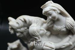 Vintage A. Santini Sculpture Italy Signed Sleeping Beauty on Horse Rare
