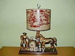 Vintage And Extremely Rare United Cowboy And Horse Lamp Clock