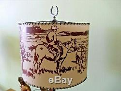 Vintage And Very Rare United Cowboy And Horse Lamp Clock