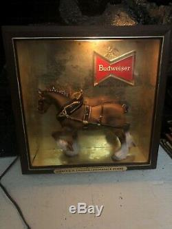 Vintage Budweiser Beer lighted sign Clydesdale Horse shadow box RARE