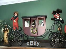 Vintage Byers Choice Carriage 2001 Rare with 3 Coachmen&horse