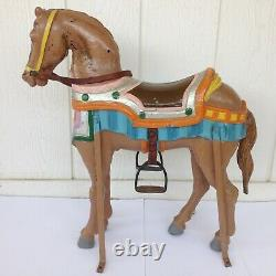 Vintage Carousel Horse Carnival Ride Painted Metal Leather Accents Unique RARE