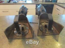 Vintage Cast Iron & Brass Horse Head Carriage Wheel Fireplace Andirons Rare