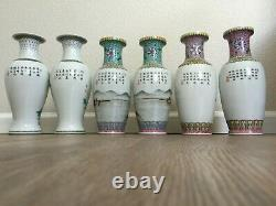 Vintage Chinese Vases Set of Six Rare Famille Rose Pink Turquoise Birds Horses