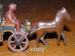 Vintage Early Small Tin Penny Toy Horse Drawn Hansom Coach Look Rare Toy