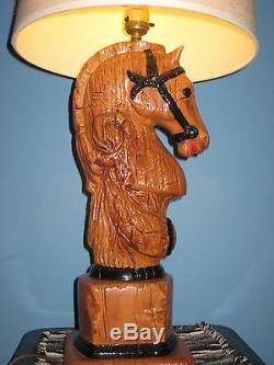 Vintage Equestrian Horse Lamp RARE Holland Mold hand Painted with Shade