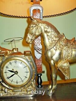 Vintage Extremely Rare United Cowboy Horse And Lamp Clock See Description