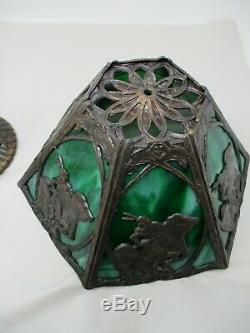 Vintage Green Slag Glass Lamp With An Indian & Horse Encircled With Lead Rare