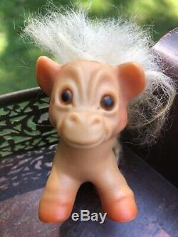 Vintage HORSE TROLL DOLL WITH TAIL 1965 3 White Hair Brown Eyes Dam Things Rare