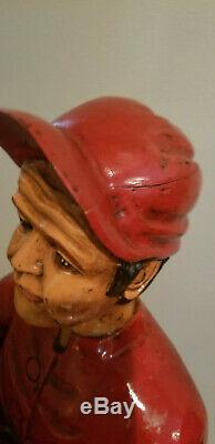 Vintage Hand Carved Solid Wood Life Size Horse Jockey Statue Very Rare
