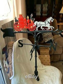 Vintage Horse Drawn Fire Truck Weather Vane Roof Bracket Mounting cast Rare LQQK