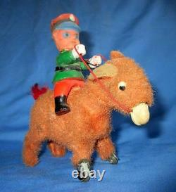 Vintage Old Rare Wind Up Cow Boy On Horse Jumping Tin Celluloid Toy, Japan