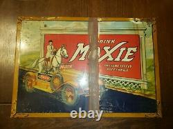 Vintage Original 1933 RARE Drink Moxie Tin over Cardboard Sign with Horse & Car