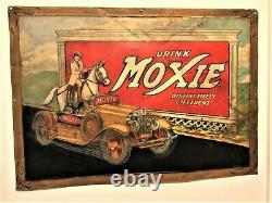 Vintage Original Early RARE Drink Moxie Metal Sign with Horse in Car