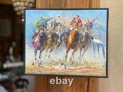 Vintage Original Oil Painting by Anthony Veccio-Horse Racing/Race Horses-RARE