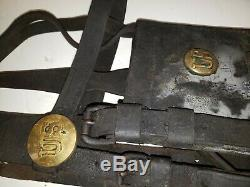 Vintage Original US Calvary Horse Harness & Martingale10 Brass US ButtonsRare