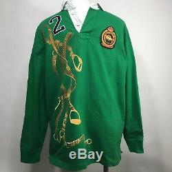 Vintage Polo Ralph Lauren 2 Winter Cup Equestrian Horse Rugby Shirt Large Rare