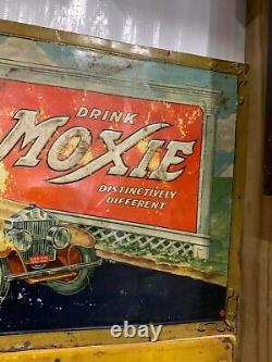 Vintage RARE Moxie Root Beer Metal Sign WithHorse and Car GAS OIL SODA COLA