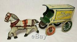 Vintage Rare 1920's J. Chein & Co Fine Groceries Horse & Delivery Wagon Tin Toy