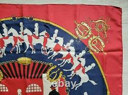 Vintage Rare 70's Hermes Silk Scarf Red MANEGE Wrap Shawl Carre