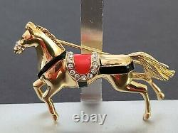 Vintage & Rare CINER Unsigned Horse Brooch With Enamel and Rhinestones