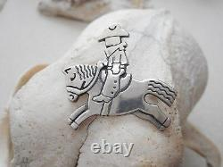 Vintage Rare James Avery Sterling Silver Cowboy Riding Horse Brooch Pin 362517