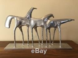 Vintage Rare Signed Don Drumm Three Horses Large 24 Metal Sculpture Equestrian