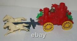 Vintage Rosbro Horse Pull Fire Truck plastic toy + firemen & bell RARE works
