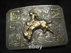 Vintage STARR'S Sterling 10K BUCKING HORSE Western Rodeo Buckle BEAUTIFUL RARE