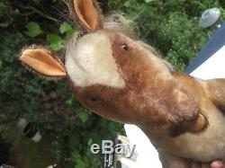 Vintage STEIFF SULKY TROTTING HORSE-HUGE approx 27 c. 1930 old mohair pony, RARE