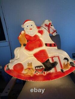 Vintage Union Products Blow Mold Don Featherstone Santa On Rocking Horse Rare