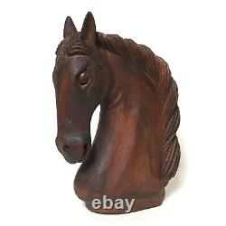 Vintage Wooden Horse Head Bust Sculpture Statue Hand Carved Wood Animal Rare