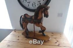 Vintage horse on wheels 1950s wooden toy platform push along toy Rare Vintage