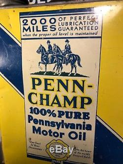 Vtg PENN-CHAMP Pennsylvania MOTOR OIL 2 Gallon Oil Can Horses Graphic Rare Clean