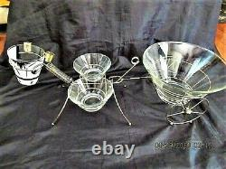 Vtg Rare MID Century Gay Fad Metal And Glass Horse W Cart Chip & Dip Set Signed