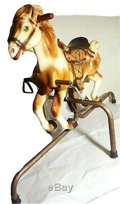 Wonder Horse Spring Bouncing Rocking Galloping Legs 36Tall Rubber Vintage Rare
