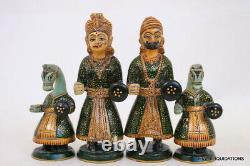 Wooden Chess Set Hand Painted King 6.5 Indian Elephant Horse Camel Vintage RARE